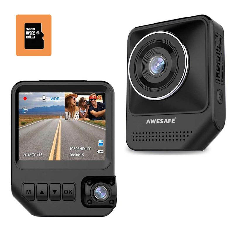 AWESAFE Dual Dash Cam for Cars Front and Inside Dash Cam. Image via Amazon.