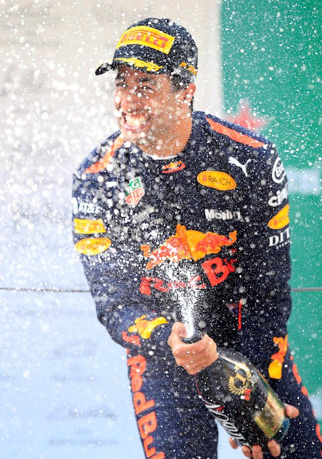 Formula One F1 - Chinese Grand Prix - Shanghai International Circuit, Shanghai, China - April 15, 2018 Red Bull's Daniel Ricciardo celebrates with champagne after winning the race REUTERS/Aly Song
