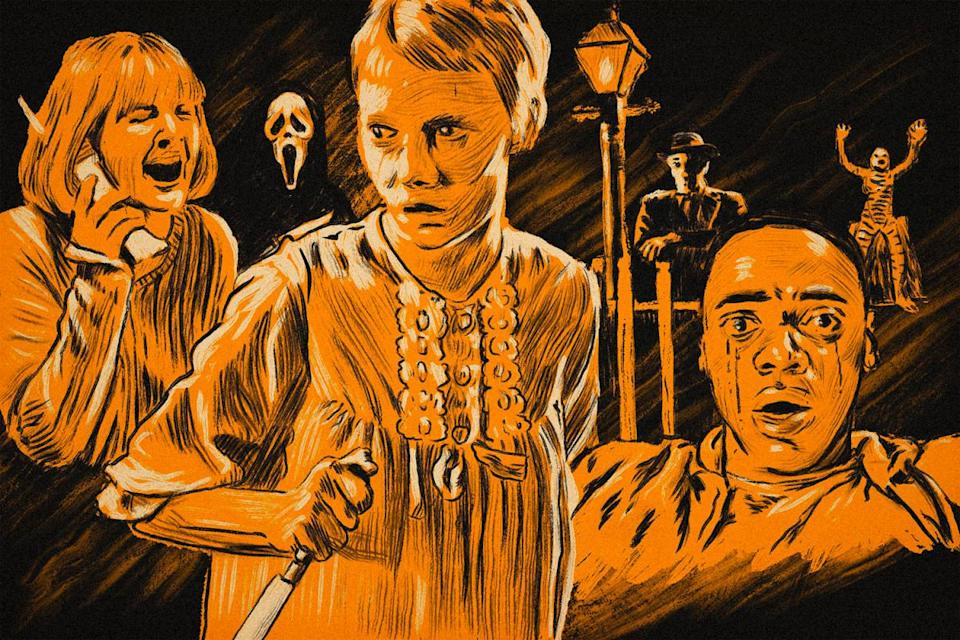 Classic horror film poster shows scream, rosemary's baby, night of the hunter, get out and creature from the black lagoon