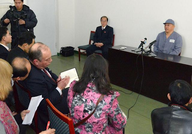 Kenneth Bae, a Korean-American Christian missionary who has been detained in North Korea for more than a year, meets a limited number of media outlets in Pyongyang