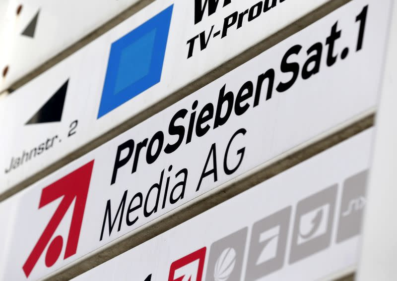 FILE PHOTO: File photo shows the logo of Germany's biggest commercial broadcaster ProSiebenSat.1 Media AG in Unterfoehring