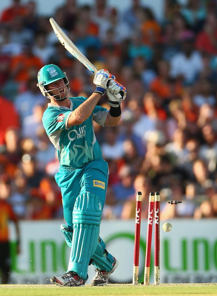 PERTH, AUSTRALIA - JANUARY 19:  Dan Christian of the Heat is bowled by Nathan Coulter-Nile of the Scorchers during the Big Bash League final match between the Perth Scorchers and the Brisbane Heat at the WACA on January 19, 2013 in Perth, Australia.  (Photo by Robert Cianflone/Getty Images)
