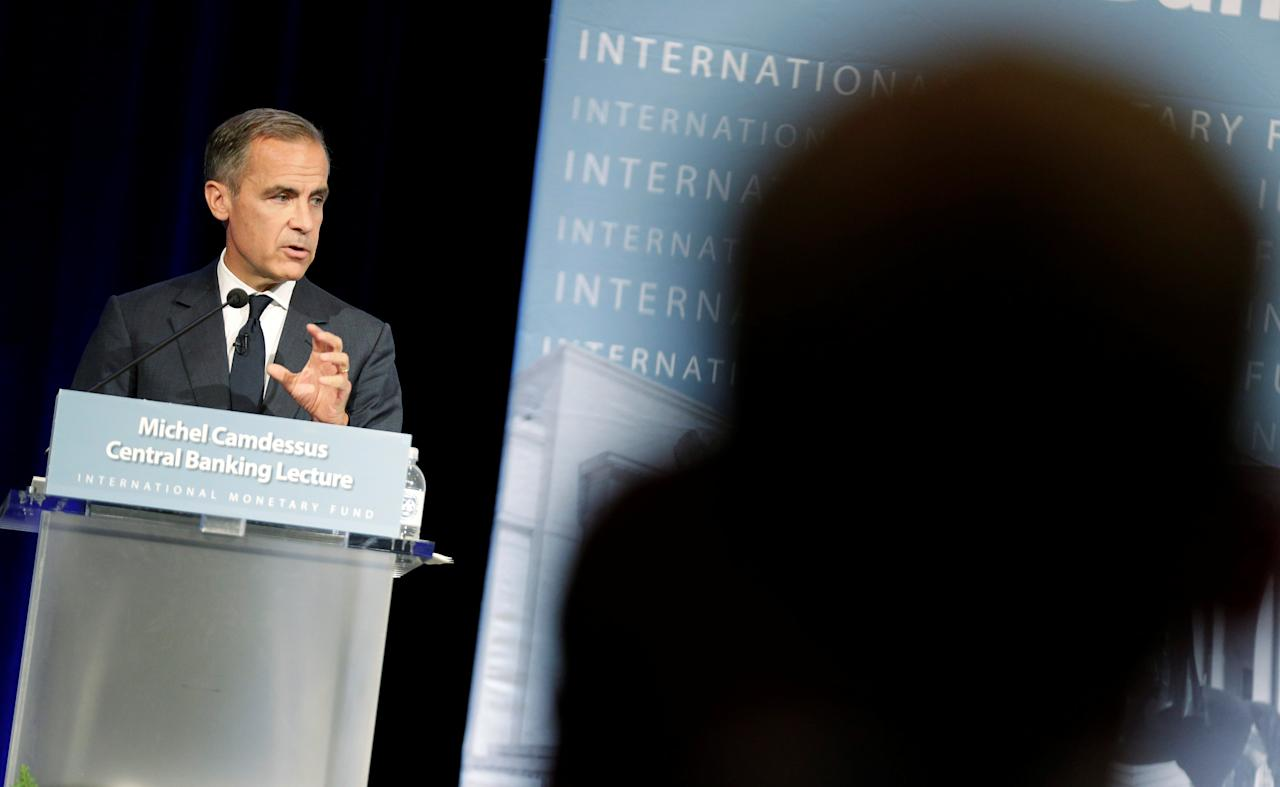 Governor of the Bank of England Mark Carney delivers the Michel Camdessus Central Banking Lecture at the International Monetary Fund in Washington, U.S., September 18, 2017. REUTERS/Joshua Roberts