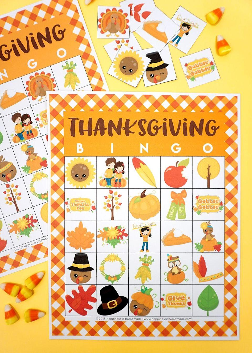 "<p>There's nothing more classic than a round of Bingo. Give the game a Thanksgiving twist by downloading free printable Turkey Day-themed cards online. Celebrating virtually this year? Check out <a href=""https://www.goodhousekeeping.com/life/entertainment/g32098665/best-games-to-play-on-zoom/"" rel=""nofollow noopener"" target=""_blank"" data-ylk=""slk:versions you can play on Zoom"" class=""link rapid-noclick-resp"">versions you can play on Zoom</a>.</p><p><em><a href=""https://www.happinessishomemade.net/free-printable-thanksgiving-bingo-cards/"" rel=""nofollow noopener"" target=""_blank"" data-ylk=""slk:Download the printables at Happiness Is Homemade »"" class=""link rapid-noclick-resp"">Download the printables at Happiness Is Homemade »</a></em></p>"