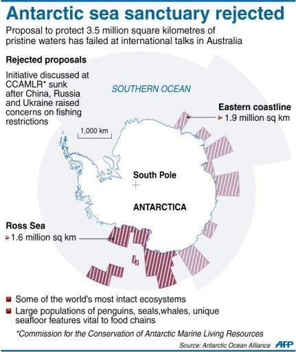 Graphic outlining a 3.5 million square kilometre proposal to protect Antarctic waters, which was rejected on Friday at an international forum held in Hobart, Australia after resistance led by China and Russia