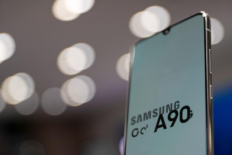 Samsung Electronic's Galaxy A90 is seen on display at a Samsung store in Seoul