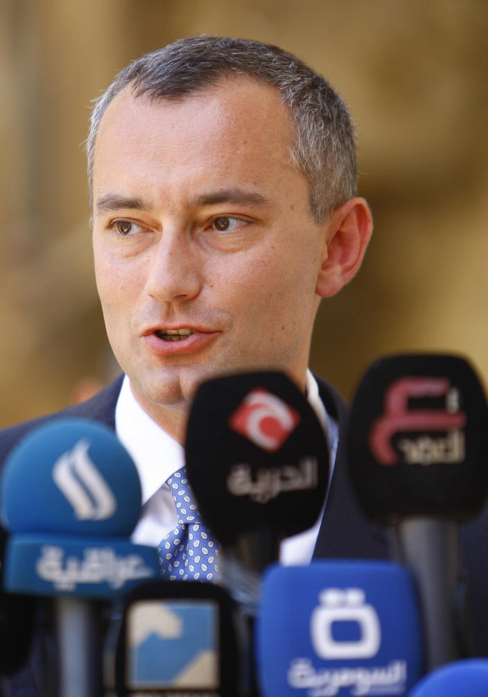 UN's special envoy to Iraq Nickolay Mladenov gives a press conference on July 19, 2014 in the Iraqi city of Najaf (AFP Photo/Haidar Hamdani)