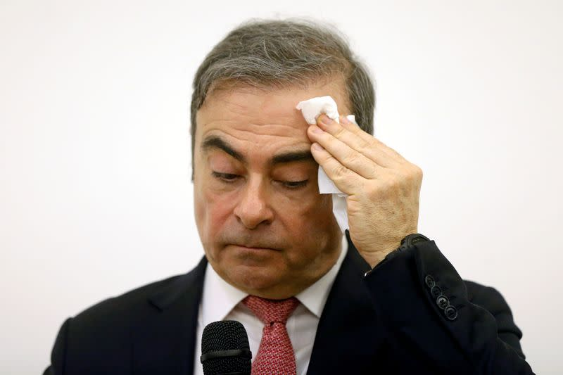 FILE PHOTO: Former Nissan chairman Carlos Ghosn attends a news conference at the Lebanese Press Syndicate in Beirut