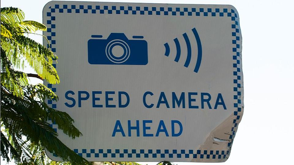 Pictured is a sign warning drivers of a speed camera ahead.