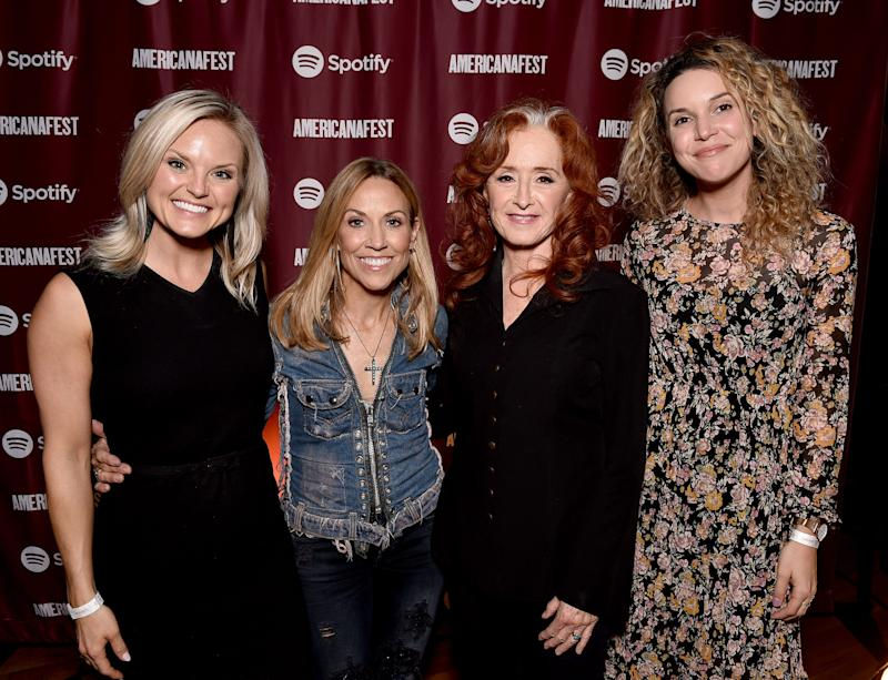 potify's Brittany Schaffer, artist Sheryl Crow, artist Bonnie Raitt and Spotify's Mary Catherine Kinney attend a special event hosted by Spotify and AmericanaFest at Cannery Ballroom.
