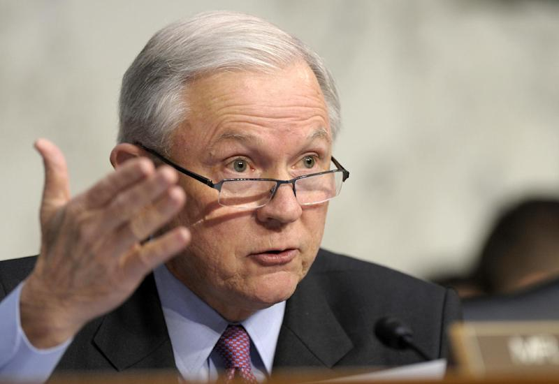 FILE - In this Jan. 30, 2013 file photo, Sen. Jeff Sessions, R-Ala. speaks on Capitol Hill in Washington. Senators weighing a landmark immigration bill defeated an effort by Republicans Tuesday to require biometric identification _ such as fingerprinting _ to track who is entering and leaving the country. The amendment by Sessions would have required a biometric system to be in place before any immigrant here illegally could obtain permanent residency or citizenship. (AP Photo/Susan Walsh, File)
