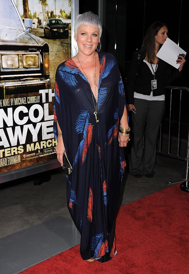 "<a href=""http://movies.yahoo.com/movie/contributor/1802319994"">Pink</a> at the Los Angeles premiere of <a href=""http://movies.yahoo.com/movie/1810088161/info"">The Lincoln Lawyer</a> on March 10, 2011."