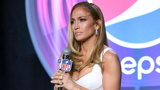 Jennifer Lopez, one of the Super Bowl's half-time acts, got emotional discussing Kobe Bryant's death at her news conference with Shakira.