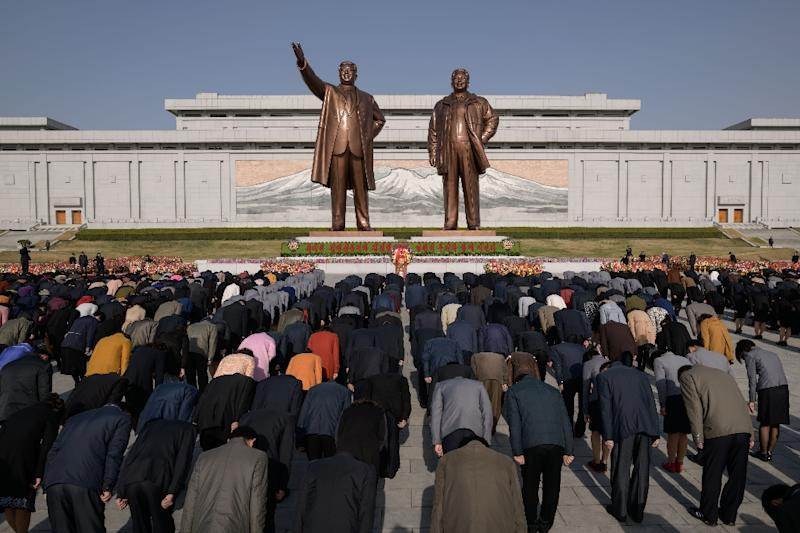 Statues of Kim Il Sung and Kim Jong Il are found all over North Korea (AFP Photo/Ed JONES)