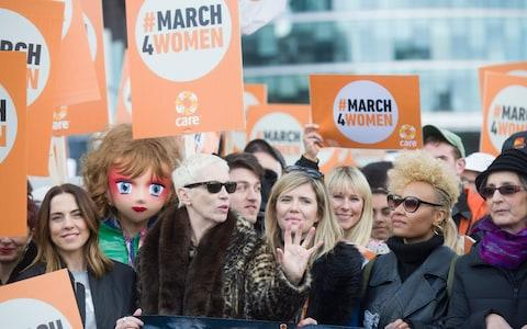 Annie Lennox and Emeli Sande on the March4Women in London last year - Credit: Paul Grover