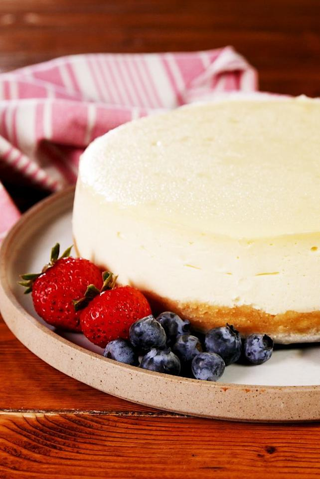 """<p>Typically a <a href=""""https://www.delish.com/uk/cooking/recipes/g30239150/cheesecake-recipes/"""">cheesecake</a> crust is made out of crushed digestive biscuits. But we've made our crust with almond flour and it's SO delicious. We also like to add a little bit of flour to our cheesecake batter so that it holds together. Here, we add a gluten-free flour, but you can sub in almond flour if you don't mind a nuttier flavour and texture.</p><p>Get the <a href=""""https://www.delish.com/uk/cooking/recipes/a30868188/easy-gluten-free-cheesecake-recipe/"""" target=""""_blank"""">Gluten Free Cheesecake</a> recipe.</p>"""