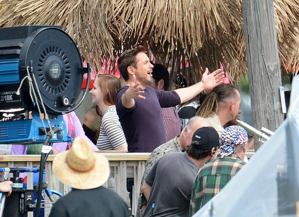 "October 1, 2012: Robert Downey, Jr. is happy to see the sun on the set of ""Iron Man 3"" in Miami Beach, Florida."