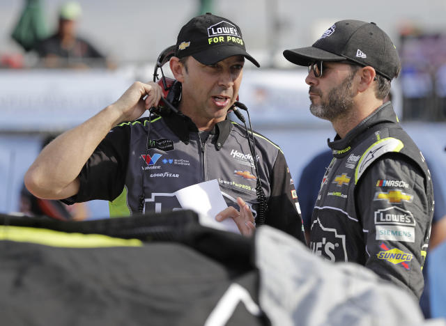 Crew chief Chad Knaus and Jimmie Johnson have been together for Johnson's entire Cup Series career. (AP Photo/Chuck Burton