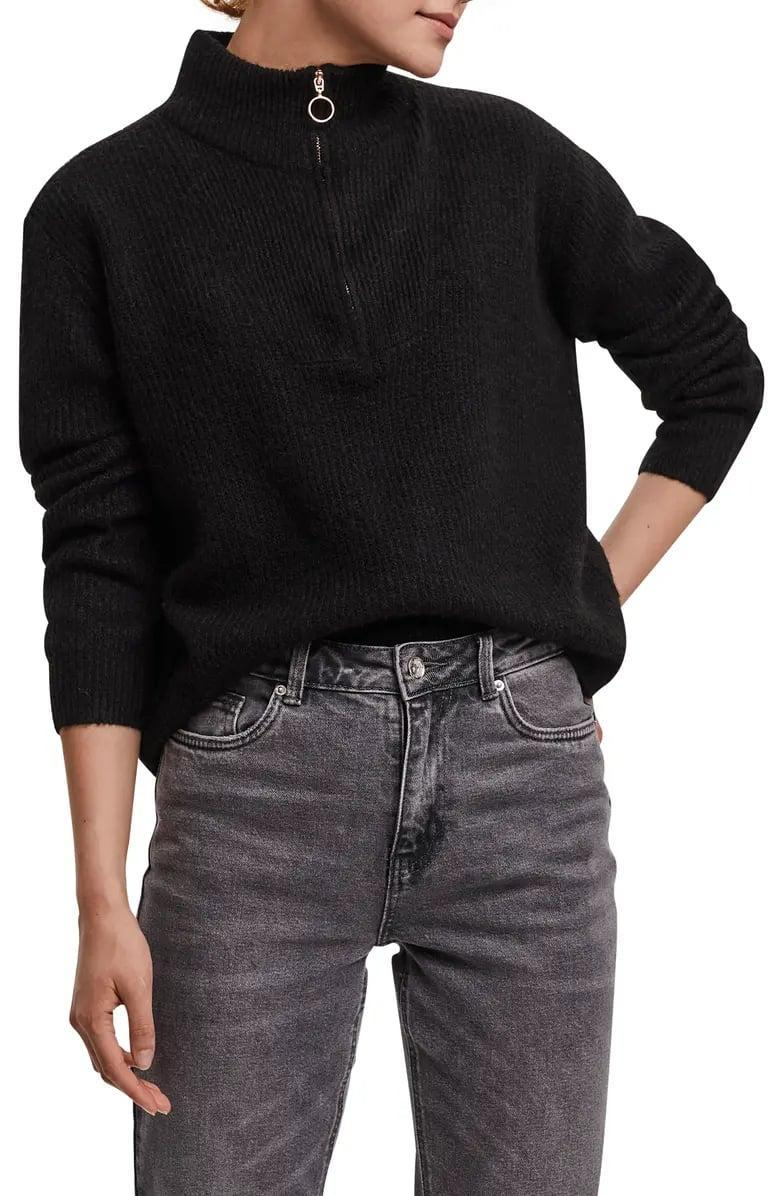 <p>Instead of a sweatshirt or hoodie, pull over this <span>Vero Moda Plaza High Neck Quarter Zip Sweater</span> ($65). The casual top looks just as good under a denim or leather jacket as it does all on its own.</p>