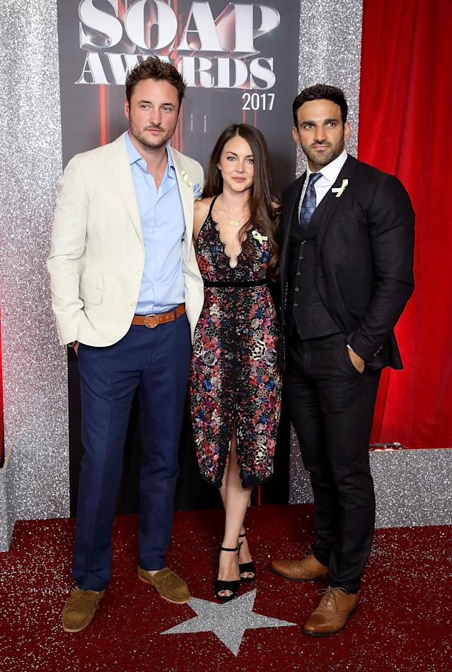 MANCHESTER, ENGLAND - JUNE 03: (L-R) James Bye, Lacey Turner and Davood Ghadami attend The British Soap Awards at The Lowry Theatre on June 3, 2017 in Manchester, England. The British Soap Awards will be aired on June 6 on ITV at 8pm. (Photo by Mike Marsland/Mike Marsland/WireImage)