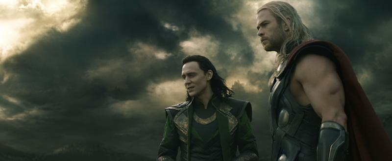 "Tom Hiddleston and Chris Hemsworth in ""Thor: The Dark World"""