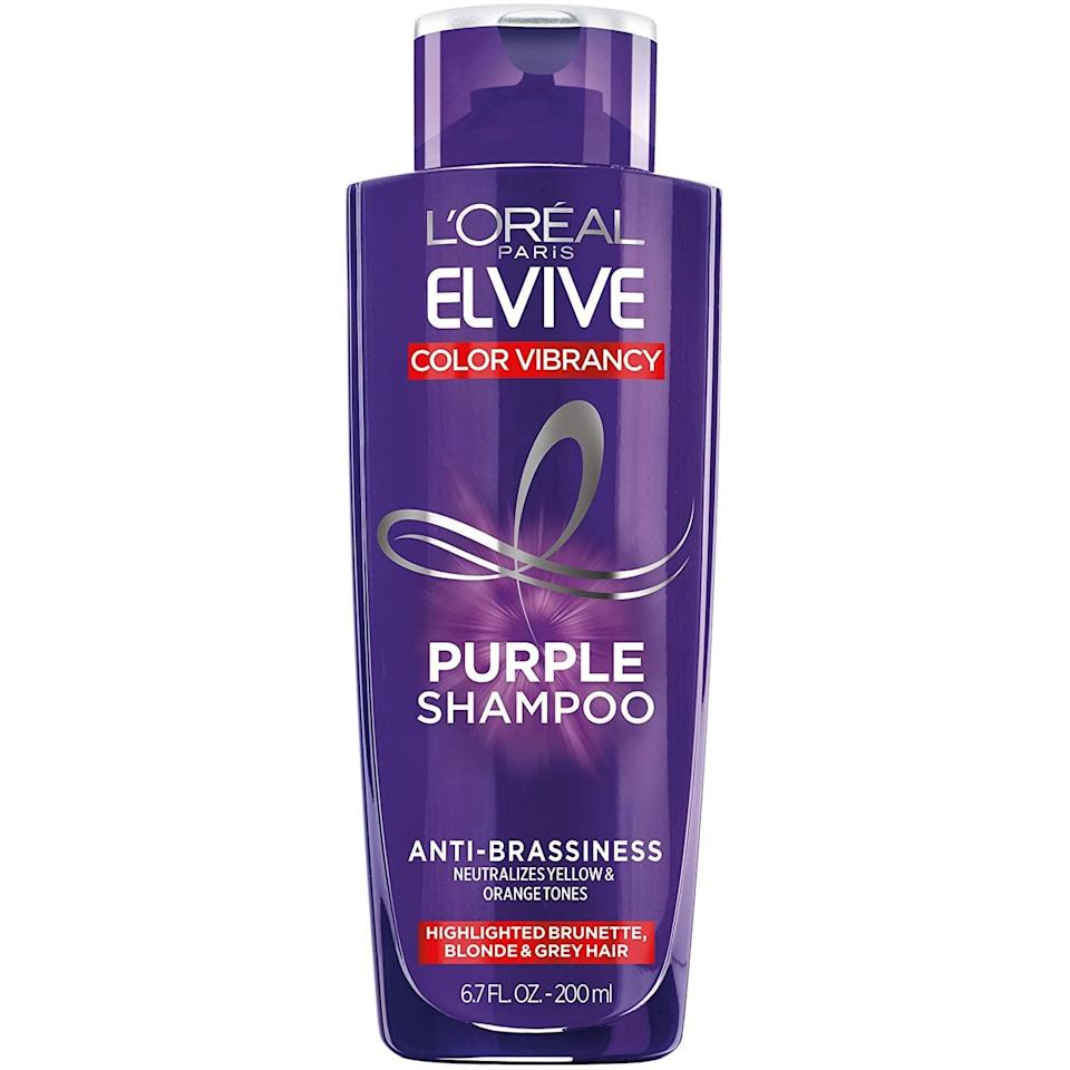 <p><span>L'Oréal Paris Elvive Color Vibrancy Anti-Brassiness Purple Shampoo</span> ($4) is a top-rated drugstore formula. The purple shampoo corrects yellow and orange tones in hair after just one use. Highlighted brunettes, blonds, and gray hair can all benefit from it.</p>