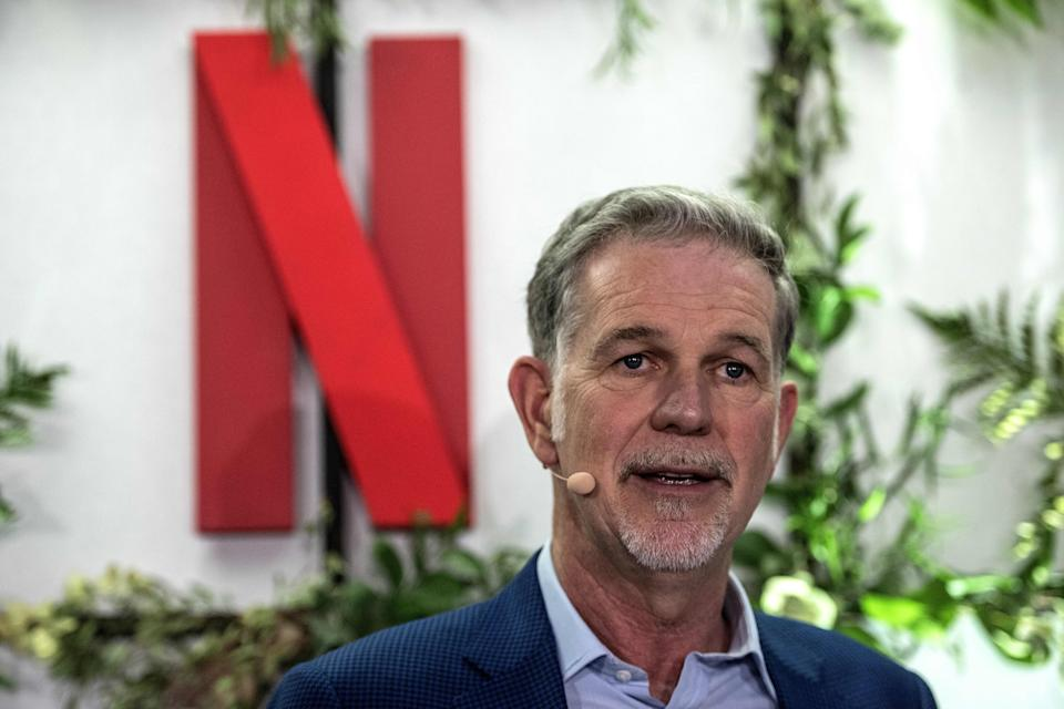 Co-founder and director of Netflix Reed Hastings delivers a speech as he inaugurates the new offices of Netflix France, in Paris on January 17, 2020. - Hastings announced some 20 French projects by Netflix on January 17, 2020. (Photo by Christophe ARCHAMBAULT / AFP) (Photo by CHRISTOPHE ARCHAMBAULT/AFP via Getty Images)