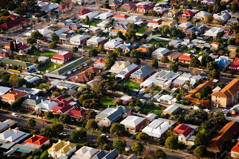 An aerial view of an Australian suburb.