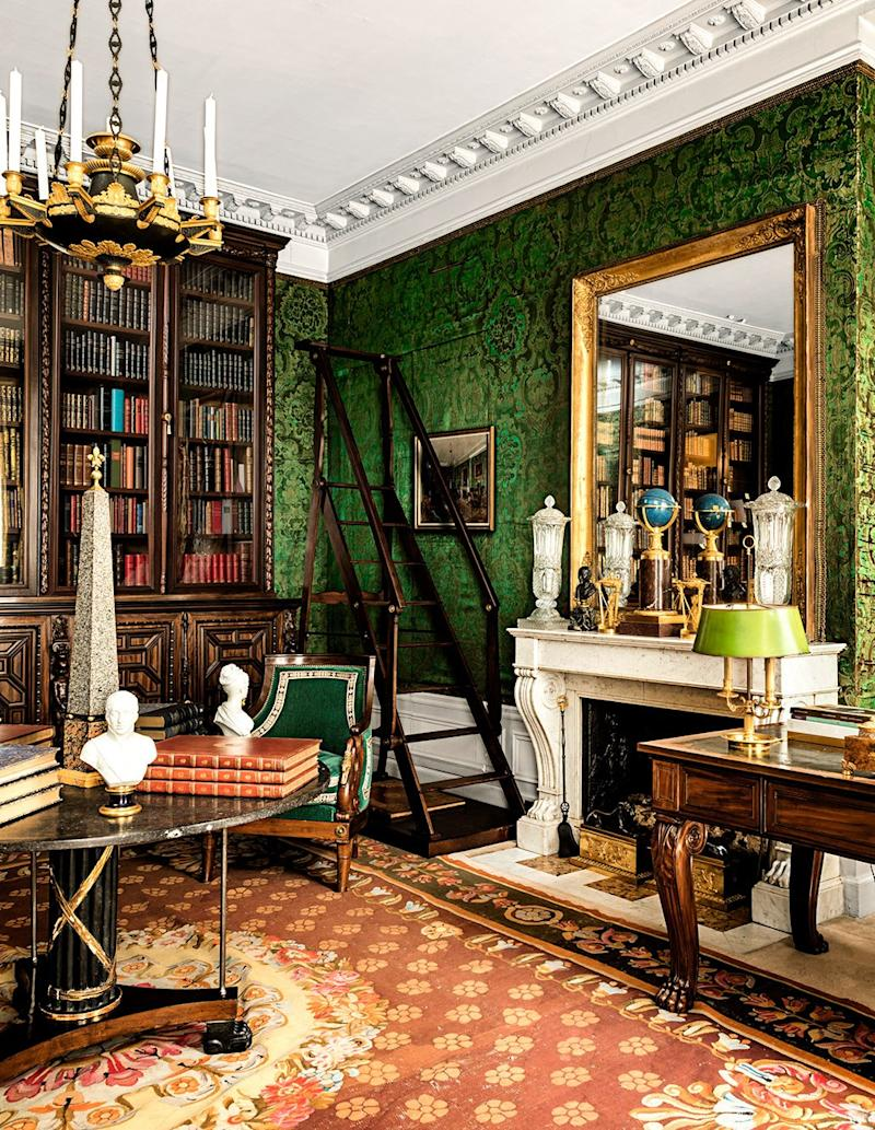The de Ribeses' library, where Empire furniture joins rare books.