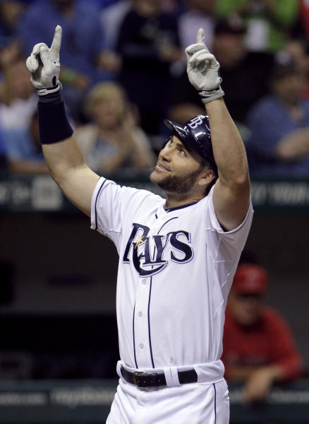 Tampa Bay Rays' Luke Scott reacts after hitting a fourth-inning home run off Los Angeles Angels starting pitcher Ervin Santana during a baseball game Tuesday, April 24, 2012, in St. Petersburg, Fla. (AP Photo/Chris O'Meara)