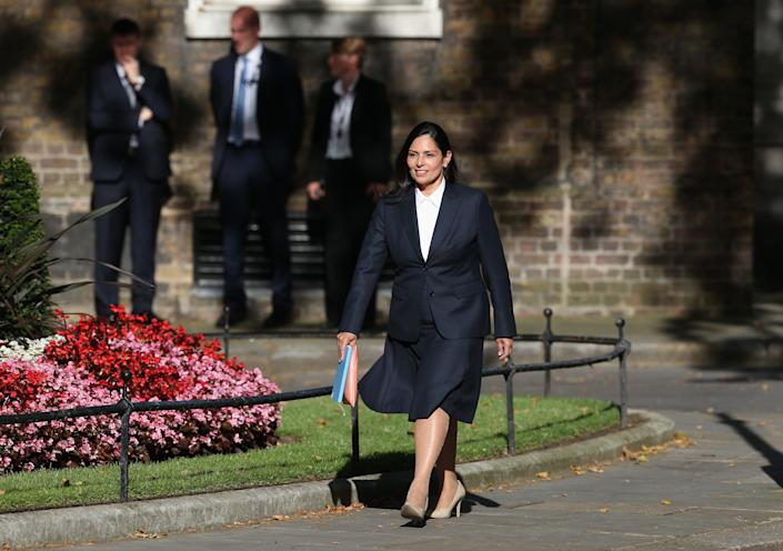 Priti Patel arriving for a meeting with the new Prime Minister Boris Johnson at Downing Street, London.