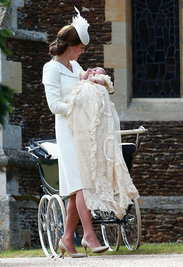 """<p>Charlotte wore the traditional royal christening robe, previously worn by her brother George and later worn by her brother Louis and <a href=""""https://www.elle.com/uk/fashion/celebrity-style/a28316829/kate-middleton-tribute-princess-diana-archie-christening/"""" rel=""""nofollow noopener"""" target=""""_blank"""" data-ylk=""""slk:cousin Archie"""" class=""""link rapid-noclick-resp"""">cousin Archie</a> for the service at St Mary Magdalene Church in Sandringham.</p>"""