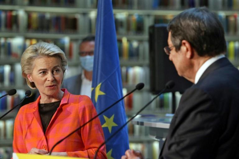 European Commission President Ursula von der Leyen and Cyprus President Nicos Anastasiades speak during a presentation event for the EU Recovery and Resilience Plan