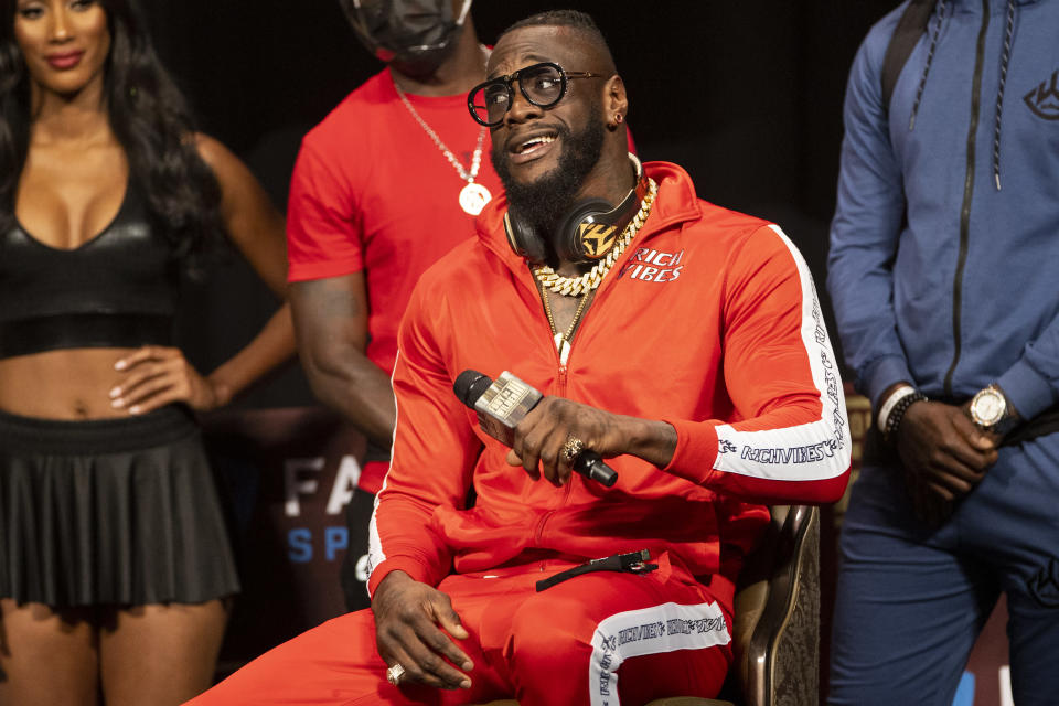 Deontay Wilder speaks during a news conference in advance of his heavyweight title boxing bout against Tyson Fury, in Las Vegas on Wednesday, Oct. 6, 2021. (Erik Verduzco/Las Vegas Review-Journal via AP)