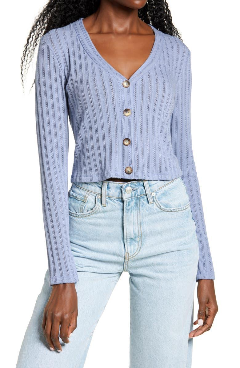 All in Favor Pointelle Crop Cardigan. Image via Nordstrom.