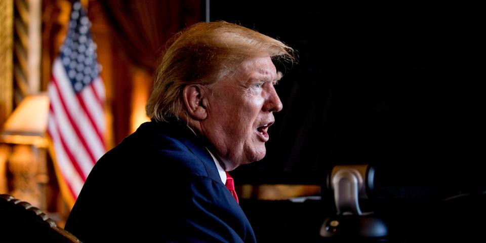 "FILE - In this Dec. 24, 2019 photo, President Donald Trump speaks to members of the media following a Christmas Eve video teleconference with members of the military at his Mar-a-Lago estate in Palm Beach, Fla. As a candidate for the White House, Donald Trump repeatedly promised that he would ""immediately"" replace President Barack Obama's health care law with a plan of his own that would provide ""insurance for everybody."" Back then, Trump made it sound that his plan — ""much less expensive and much better"" than the Affordable Care Act — was imminent. And he put drug companies on notice that their pricing power no longer would be ""politically protected."" Nearly three years after taking office, Americans still are waiting for Trump's big reveal. (AP Photo/Andrew Harnik)"