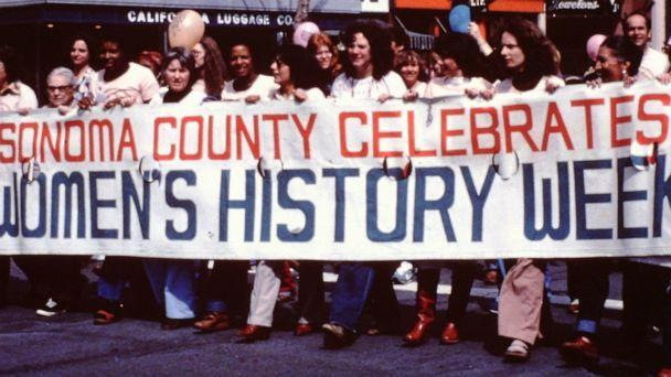 PHOTO: Women march during Women's History Week in Sonoma County, California, in an undated photo. (NWHA)