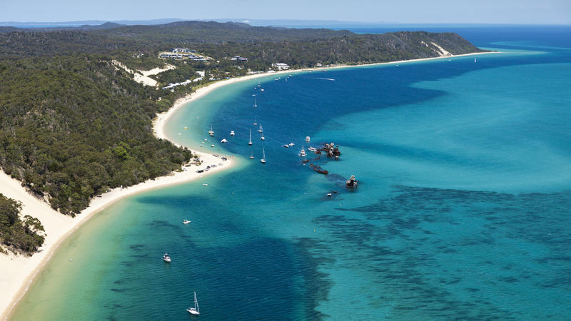 Tangalooma Wrecks off Moreton Island, pictured here in an overview photo.