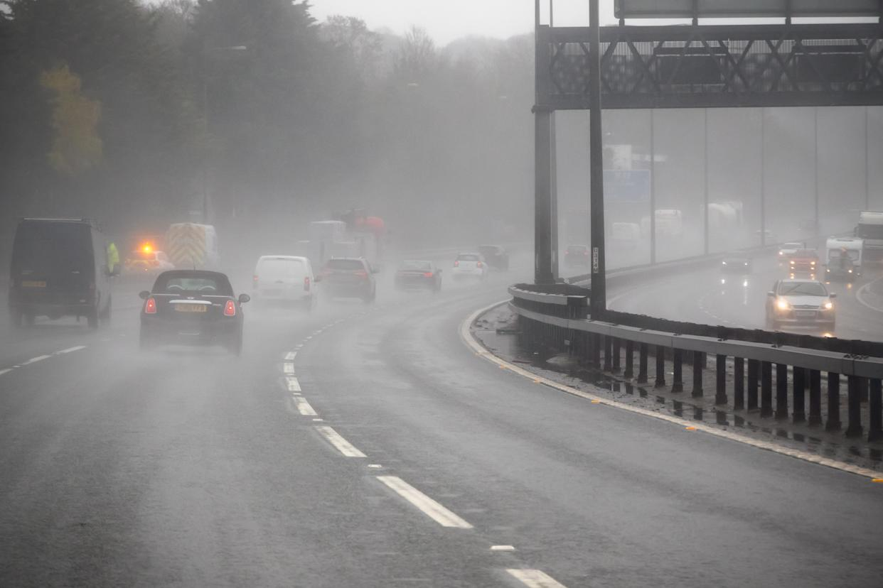 London, UK - April 9, 2018 - Driving on a motorway in a bad weather