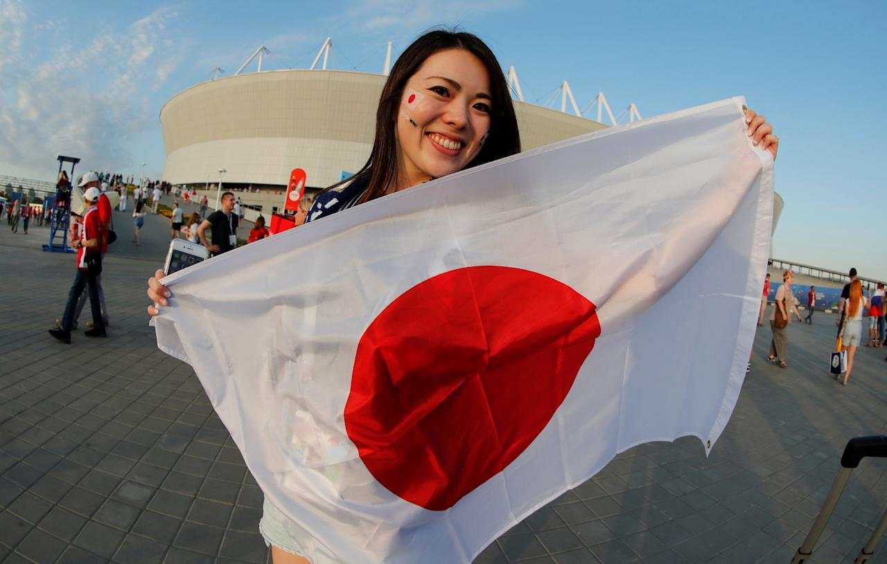 <p>Japan fan outside the stadium before the match REUTERS/Jorge Silva </p>