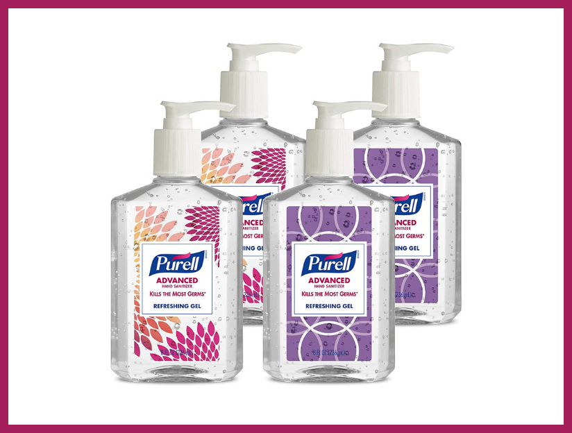 Purell Advanced Hand Sanitizer Refreshing Gel Design Series, Clean Scent, 8-ounce Pump Bottle (four-pack). (Photo: Amazon)
