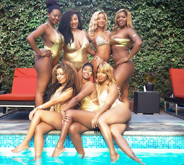 "The women took their metallic-swimsuit poses poolside. (Photo: <a href=""http://www.bjzimages.com/"" rel=""nofollow noopener"" target=""_blank"" data-ylk=""slk:Brandan J Zachery"" class=""link rapid-noclick-resp"">Brandan J Zachery</a>)"
