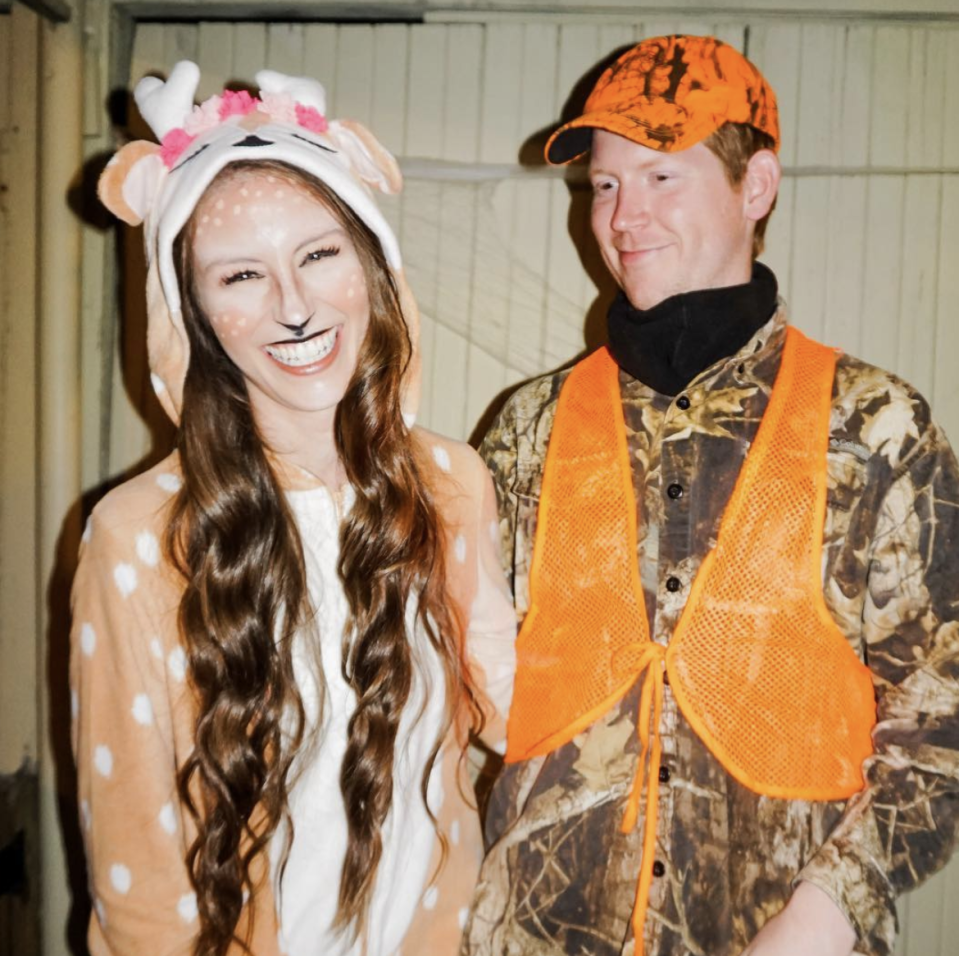"""<p>Do you have a target in mind for Halloween? For the hunter, wear head-to-toe camo with bright orange accents. As for the deer, try out this playful one piece.</p><p><a class=""""link rapid-noclick-resp"""" href=""""https://www.amazon.com/Foresightrade-Children-Cosplay-Sleepwear-145-155CM/dp/B07GQQZ93T?tag=syn-yahoo-20&ascsubtag=%5Bartid%7C10072.g.27868801%5Bsrc%7Cyahoo-us"""" rel=""""nofollow noopener"""" target=""""_blank"""" data-ylk=""""slk:SHOP DEER COSTUME"""">SHOP DEER COSTUME</a></p>"""