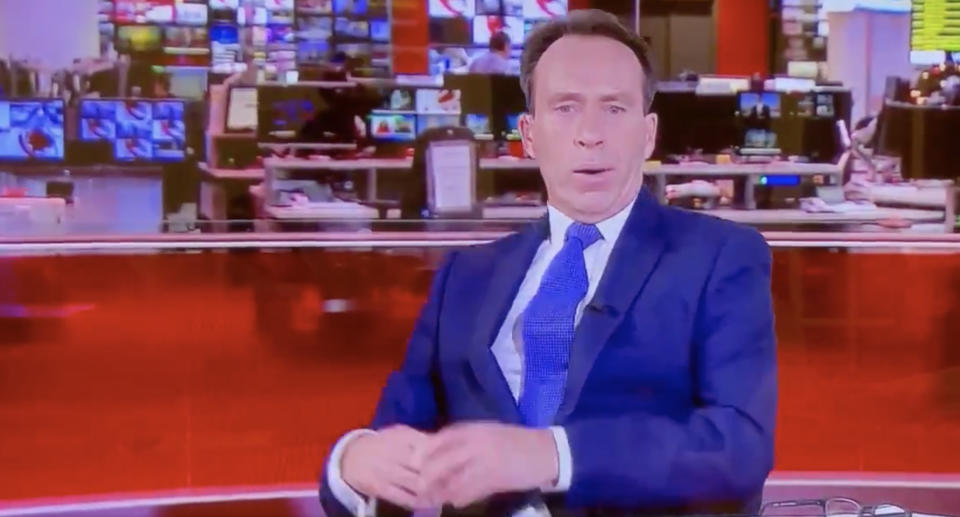 BBC presenter Ben Brown is pictured yawning on air.