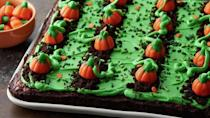"""<p>This pumpkin patch brownies recipe is the perfect <a href=""""https://www.theactivetimes.com/home/indoor-activities-kids-home?referrer=yahoo&category=beauty_food&include_utm=1&utm_medium=referral&utm_source=yahoo&utm_campaign=feed"""" rel=""""nofollow noopener"""" target=""""_blank"""" data-ylk=""""slk:indoor activity to do with your kids at home"""" class=""""link rapid-noclick-resp"""">indoor activity to do with your kids at home</a>. Take a pan of brownies and frost with green frosting, rows of crushed Oreos and candy pumpkins for decorations.</p> <p><a href=""""https://www.thedailymeal.com/recipe/pumpkin-patch-brownies?referrer=yahoo&category=beauty_food&include_utm=1&utm_medium=referral&utm_source=yahoo&utm_campaign=feed"""" rel=""""nofollow noopener"""" target=""""_blank"""" data-ylk=""""slk:For the Pumpkin Patch Brownies recipe, click here."""" class=""""link rapid-noclick-resp"""">For the Pumpkin Patch Brownies recipe, click here.</a></p>"""