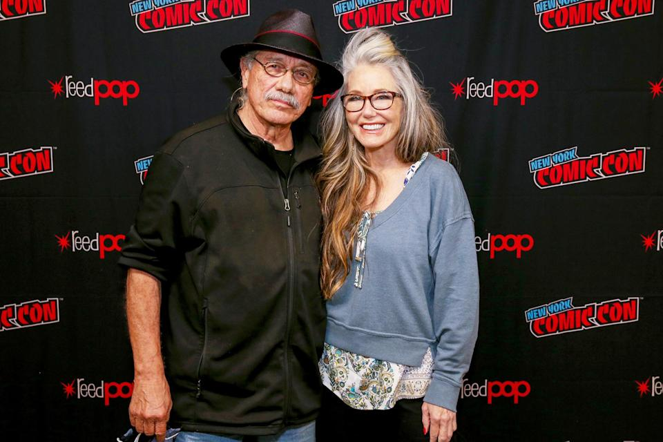 <p>Former costars Edward James Olmos and Mary McDonnell pose together at the <i>Battlestar Galactica </i>Retrospective on day one of New York Comic Con on Oct. 7. </p>