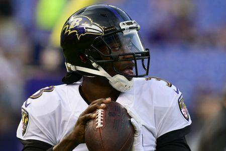 Aug 30, 2018; Baltimore, MD, USA; Baltimore Ravens quarterback Robert Griffin III (3) looks to pass before the game against the Washington Redskins at M&T Bank Stadium. Mandatory Credit: Tommy Gilligan-USA TODAY Sports