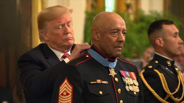 Retired Sgt. Maj. John Canley was awarded the Medal of Honor for this actions in the 1968 Battle of Hue. According to statements submitted by his fellow Marines, he repeatedly exposed himself to enemy fire to pull his wounded comrades to safety. CBS News national security correspondent David Martin reports.