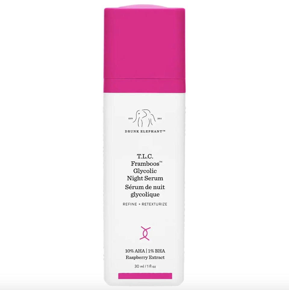 <p>The <span>Drunk Elephant T.L.C. Framboos Glycolic Resurfacing Night Serum</span> ($90) is one of the brand's most-loved products, and it's well worth it if you're looking for something to transform your skin. The serum is a blend of 12 percent exfoliating AHAs and BHAs that are hard at work resurfacing the skin while you sleep. It's helped tons of reviewers keep their dry skin at bay, while reducing the size of pores.</p>