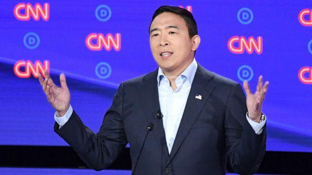 PHOTO: Democratic presidential hopeful entrepreneur Andrew Yang delivers his opening statement during the second round of the second Democratic primary debate in Detroit, July 31, 2019. (Jim Watson/AFP/Getty Images)